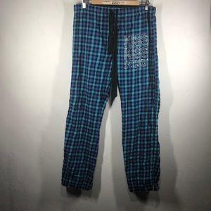 Pink Victoria's Secret blue plaid lounge pants sm